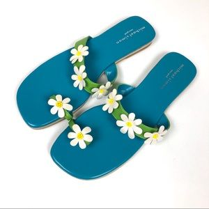Michael Simon Blue Beaded Daisy Toe Sandals